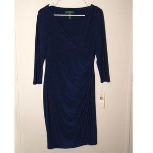 Deep sapphire blue crossover dress --has flaw